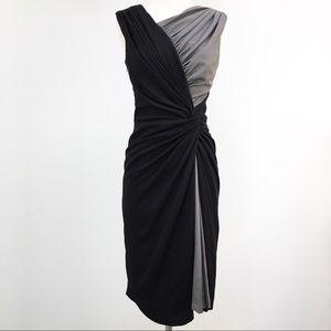 TADASHI SHOJI Silk Black and Gray Wrap Dress